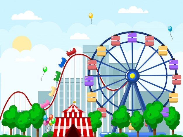 Amusement park, urban landscape with carousels and roller coaster Premium Vector