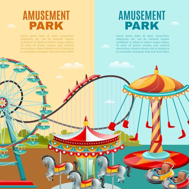 Amusement park vertical banners Free Vector