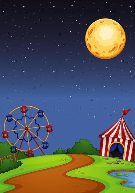 Парк развлечений с цирком в ночное время Бесплатные векторы
