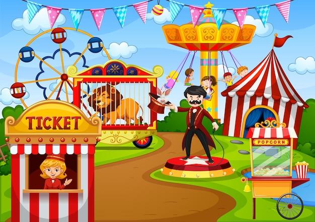 Parco di divertimenti con circo nella scena in stile cartone animato Vettore gratuito