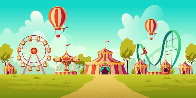 Amusement park with circus tent and carousel Free Vector