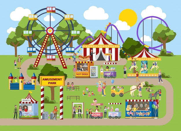 Amusement park with circus tent, carousels and clowns. children and their parents have fun in the park. urban summer landscape. flat vector illustration Premium Vector