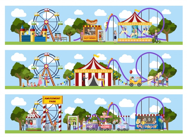 Amusement park with circus tent, carousels and clowns. Premium Vector