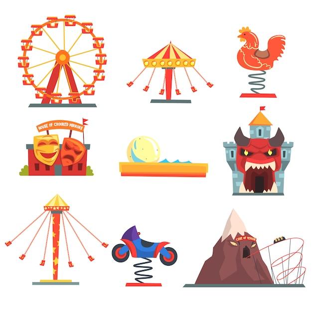Парк развлечений с семейными аттракционами набор красочных мультяшных иллюстраций на белом фоне Premium векторы