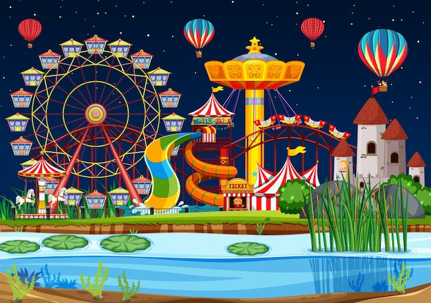 Amusement park with swamp scene at night with balloons Free Vector