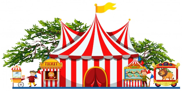 Amusement park with tent and vendors Free Vector