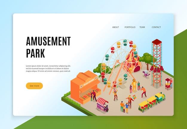 Parco di divertimenti con i visitatori durante il concetto isometrico di intrattenimento di banner web Vettore gratuito