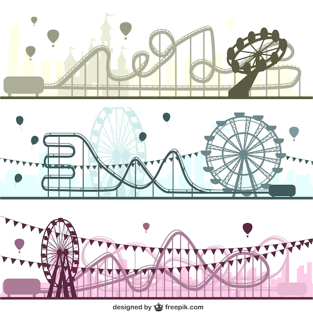 Amusement parks set Free Vector