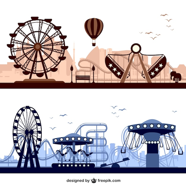 Amusement parks with big wheels and carousels Free Vector