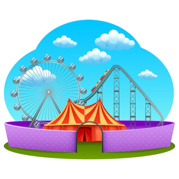Amusement part concept Free Vector