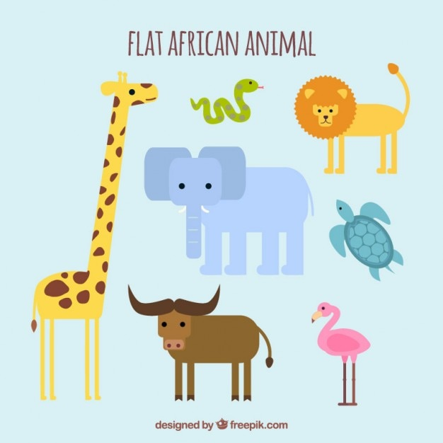 Amusing wild animals in flat design Free Vector