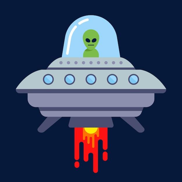 Инопланетянин летит на летающей тарелке ночью. плоская векторная иллюстрация. Premium векторы