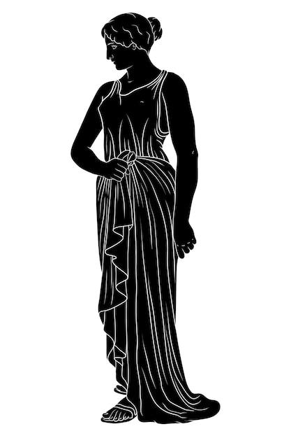 Древнегреческая молодая женщина в тунике стоит и смотрит в сторону. Premium векторы