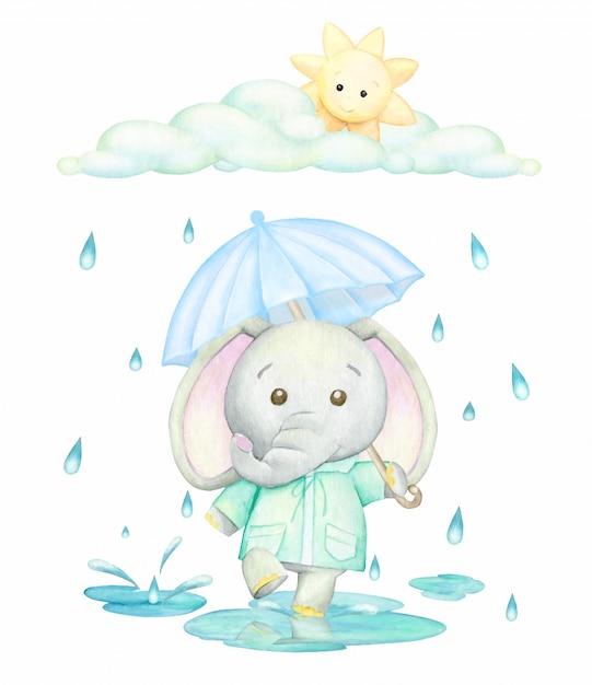 青い傘のある緑のレインコートを着た象が雨の中の水たまりを走っています。漫画のスタイルの水彩画のコンセプト。 Premiumベクター