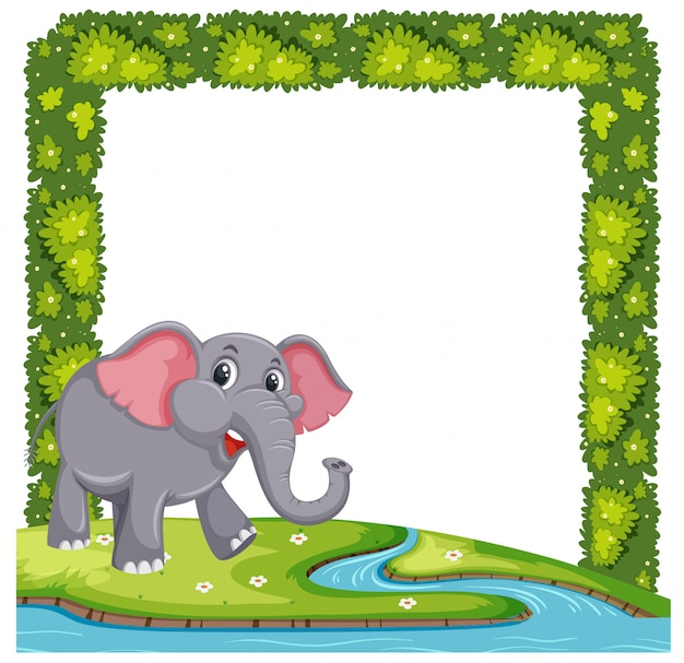 An elephant on plant frame Vector | Premium Download
