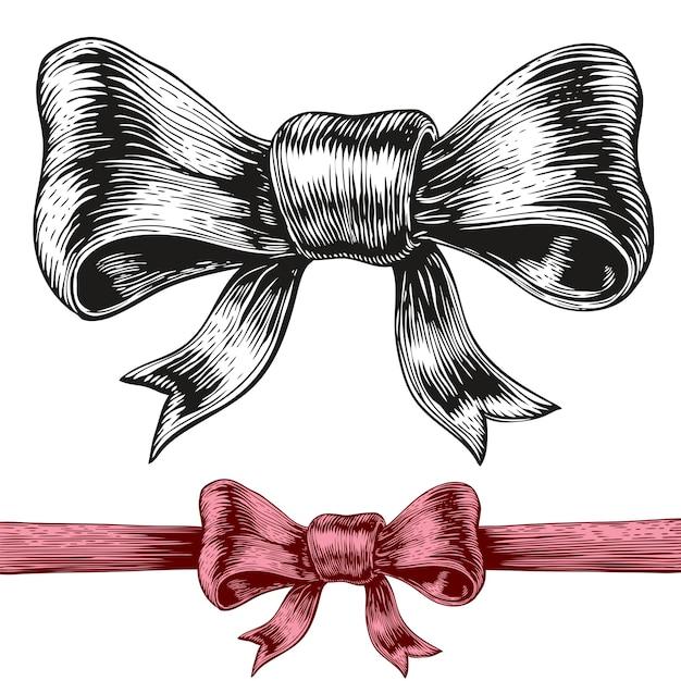 弓の彫刻スタイルの描画。 Premiumベクター