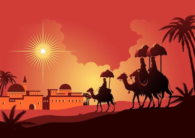 Иллюстрация путешествия трех мудрецов в вифлеем. библейские серии Premium векторы