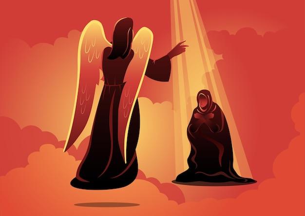 Иллюстрация ангела посещает мэри. благовещение пресвятой богородицы. библейские серии Premium векторы