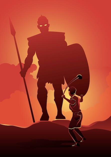 Иллюстрация давида, стоящего перед голиафом на поле битвы. библейские серии Premium векторы
