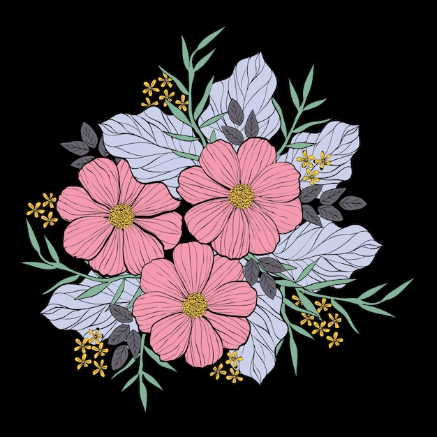 An illustration of flower bouquet in line and\ hand drawing style