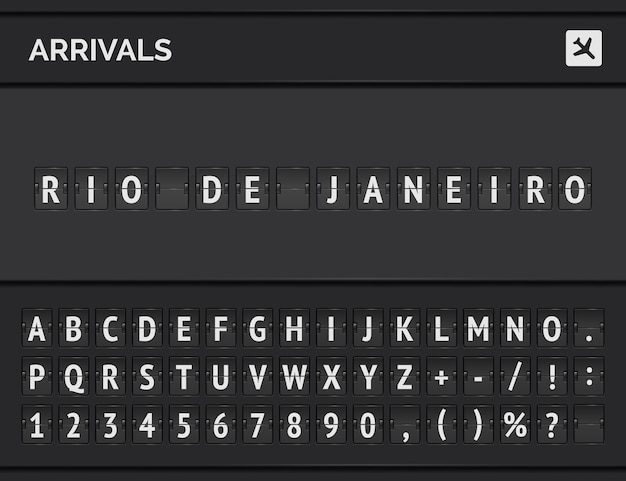 Analog airport flip scoreboard with flight information of arrival destination in brazil: rio de janeiro with airplane board and flight font. Premium Vector