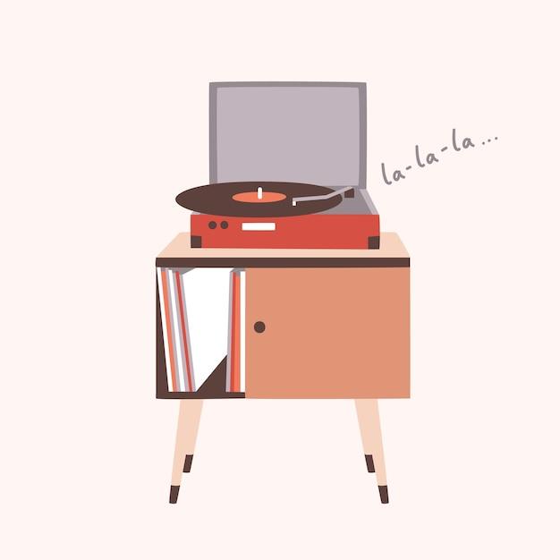 Аналоговый музыкальный плеер или проигрыватель, играющий песню или виниловую пластинку, изолированные на светлом фоне. мебель для дома или старомодное аудиоустройство. красочные декоративные иллюстрации в современном плоском стиле. Premium векторы