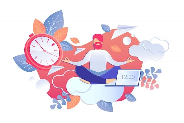 Analysis activity and time vector illustration. Premium Vector