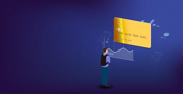 分析データと投資。アイソメトリックラップトップの分析データ。オンライン統計とデータ分析。デジタルマネー市場、投資、金融、取引。 Premiumベクター