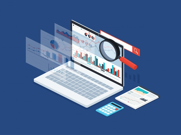Analysis data and development statistic. modern concept of business strategy, search information, digital marketing, programming process. Premium Vector