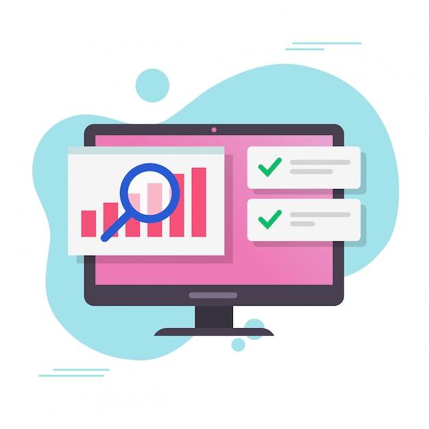 成功の通知ベクトルフラット漫画で株式市場の監査とコンピューターまたはpcの分析販売データ成長グラフレポート Premiumベクター