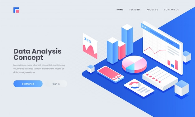 Analyst or developer workplace, isometric illustration of smartphone with infographic elements for data analysis and management concept. Premium Vector
