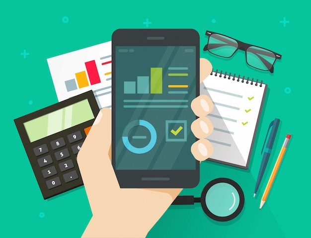 Analytics data results on mobile phone screen vector Premium Vector