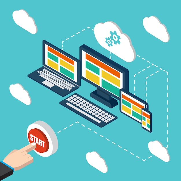 Analytics and programming vector. web application optimization. responsive pc. cloud technology Premium Vector