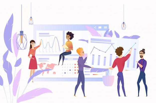 Analyzing big data cartoon vector concept business Premium Vector