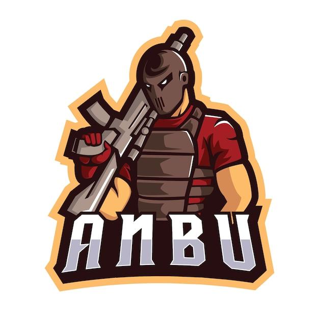 Anbu e sports logo Premium Vector
