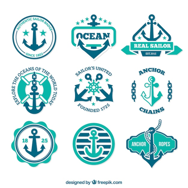 anchor badges in retro style vector | free download