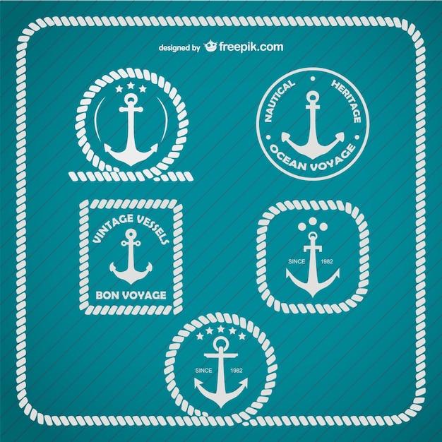 Якорь логотип морской шаблон Premium векторы