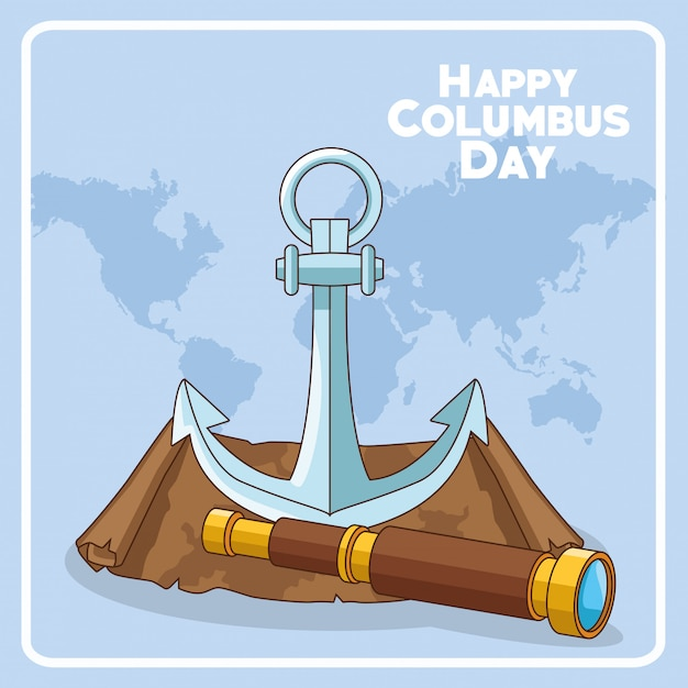 Anchor and spyglass of happy columbus day design Premium Vector