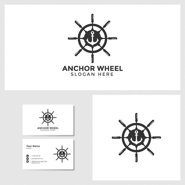 Anchor wheel logo template with business card design mockup Premium Vector