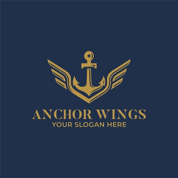 Якорь с крыльями дизайн логотипа Premium векторы