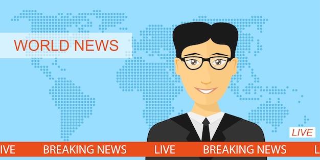 テレビのアンカーマン、スタジオのニュースアナウンサー、世界地図背景、スタイルのイラストとニュースやテレビのコンセプトを速報 Premiumベクター