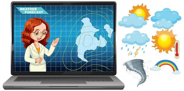 天気予報アイコンが付いたノートパソコンの画面で天気予報を報告するアンカーマン 無料ベクター