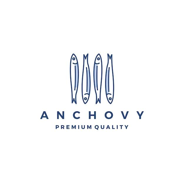 アンコヴィ魚ロゴベクトルアイコン海鮮料理のイラスト Premiumベクター