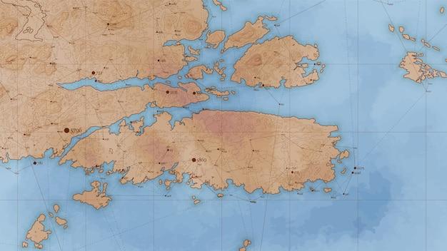 Antica mappa in rilievo di terra astratta con grandi quantità di dati e connessioni. Vettore gratuito