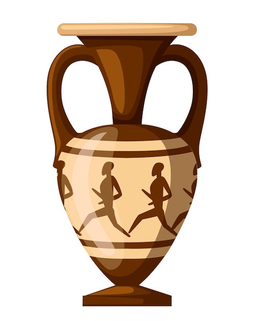 Древняя иллюстрация амфоры. амфора с человечком и двумя ручками. греческая или римская культура. коричневый цвет и узоры. плоский рисунок, изолированные на белом фоне. значок греческой керамики. Premium векторы