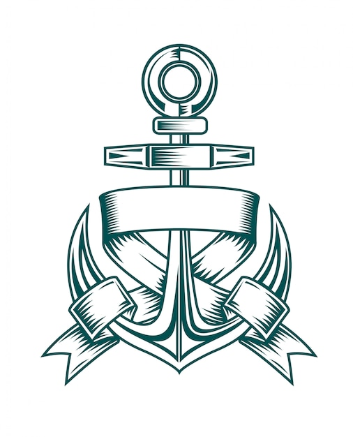 Ancient anchor with ribbons for heraldic design Premium Vector