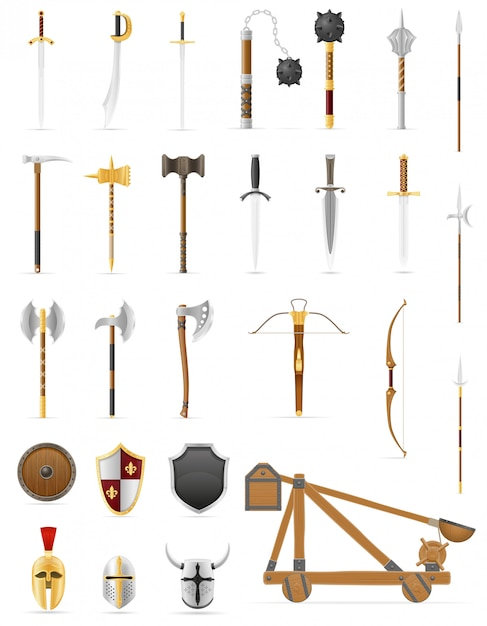 Ancient battle weapons set icons stock vector illustration Premium Vector