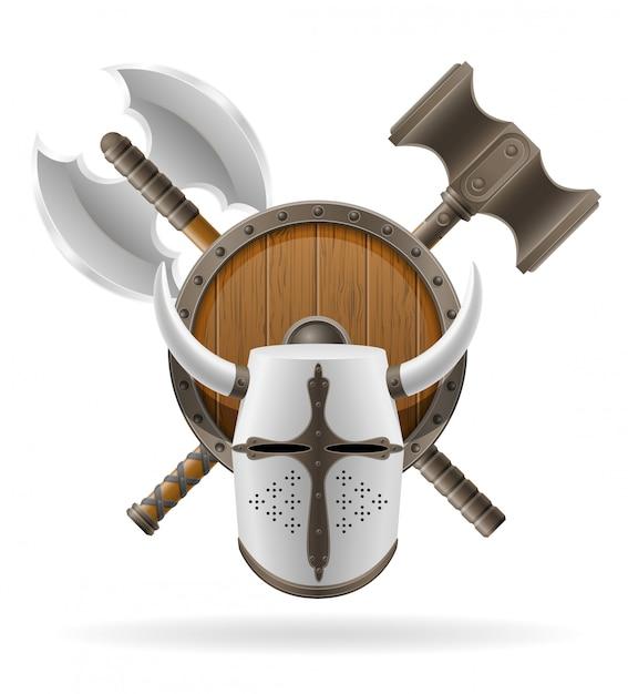 Ancient battle weapons stock. Premium Vector