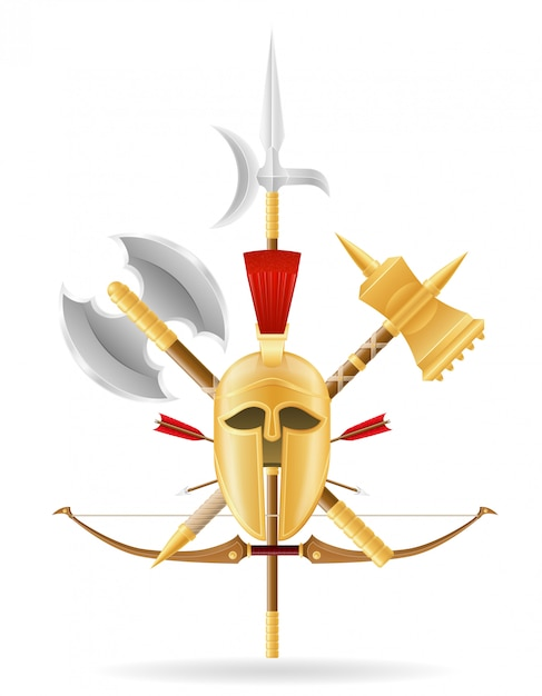 Ancient battle weapons stock. Premium Vector