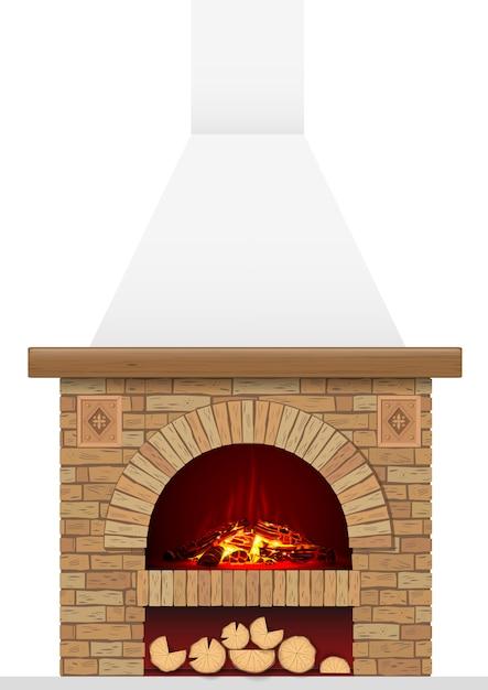 Древний кирпичный очаг с огнем Premium векторы